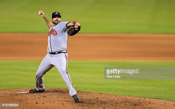 Josh Collmenter of the Atlanta Braves pitches during the game against the Miami Marlins at Marlins Park on September 22 2016 in Miami Florida
