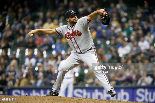 Josh Collmenter of the Atlanta Braves pitches in the seventh inning against the Milwaukee Brewers at Miller Park on April 28 2017 in Milwaukee...