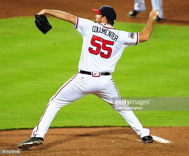 Josh Collmenter of the Atlanta Braves throws a fifth inning pitch against the Philadelphia Phillies at Turner Field on September 29 2016 in Atlanta...