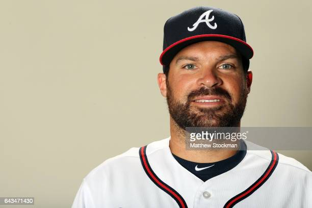 Josh Collmenter#55 poses for a portrait during Atlanta Braves Photo Day at Champion Stadium on February 21 2017 in Lake Buena Vista Florida