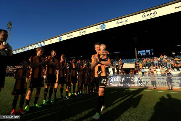 Josh Coulson of Cambridge United celebrates his testimonial during the pre season friendly match between Cambridge United and Tottenham U23 at Cambs...