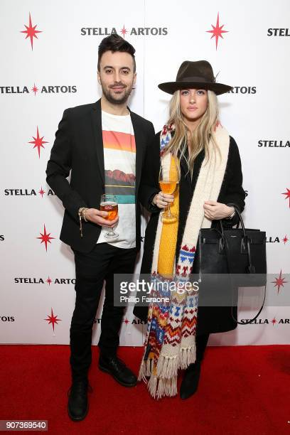 Josh Currie and Courtney McGowan attend Stella Artois and Women In Film to toast to their continued partnership at Café Artois during the Sundance...