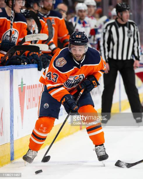 Josh Currie of the Edmonton Oilers skates against the New York Rangers at Rogers Place on March 11 2019 in Edmonton Alberta Canada