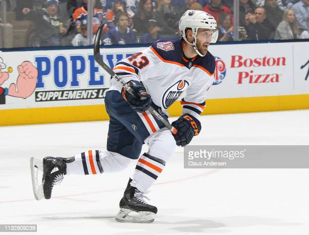 Josh Currie of the Edmonton Oilers skates against the Toronto Maple Leafs during an NHL game at Scotiabank Arena on February 27 2019 in Toronto...