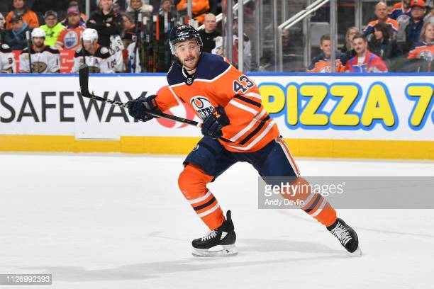 Josh Currie of the Edmonton Oilers skates during the game against the Anaheim Ducks on February 23 2019 at Rogers Place in Edmonton Alberta Canada