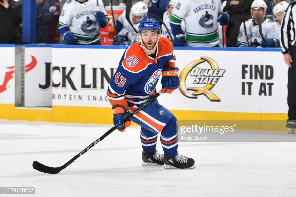 Josh Currie of the Edmonton Oilers skates during the game against the Vancouver Canucks on March 7 2019 at Rogers Place in Edmonton Alberta Canada