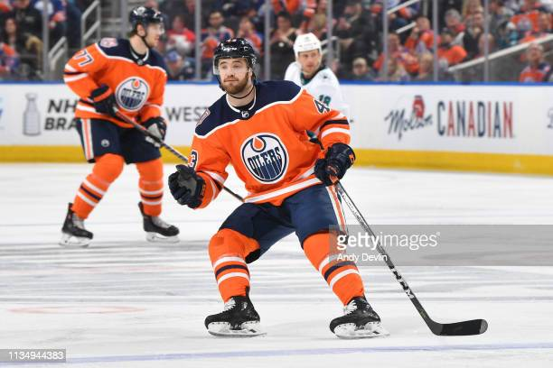 Josh Currie of the Edmonton Oilers skates during the game against the San Jose Sharks on April 4 2019 at Rogers Place in Edmonton Alberta Canada