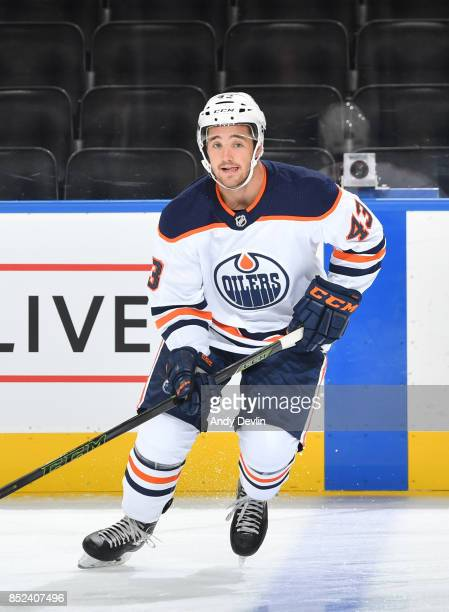Josh Currie of the Edmonton Oilers skates during the preseason game against the Calgary Flames on September 18 2017 at Rogers Place in Edmonton...