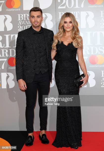 ONLY Josh Cuthbert and Chloe Lloyd attend The BRIT Awards 2017 at The O2 Arena on February 22 2017 in London England