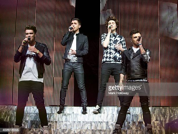 Josh Cuthbert JJ Hamblett George Shelley and Jaymi Hensley of Union J performs at BIC on December 22 2013 in Bournemouth England