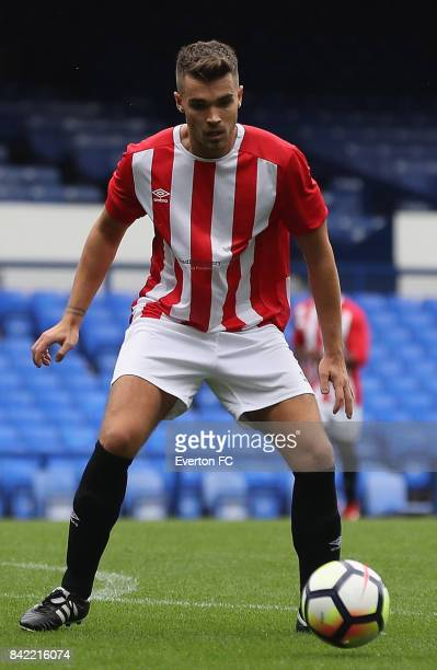Josh Cuthbert of The Lowery Legends in action during the Bradley Lowery Charity Game at Goodison Park on September 3 2017 in Liverpool England