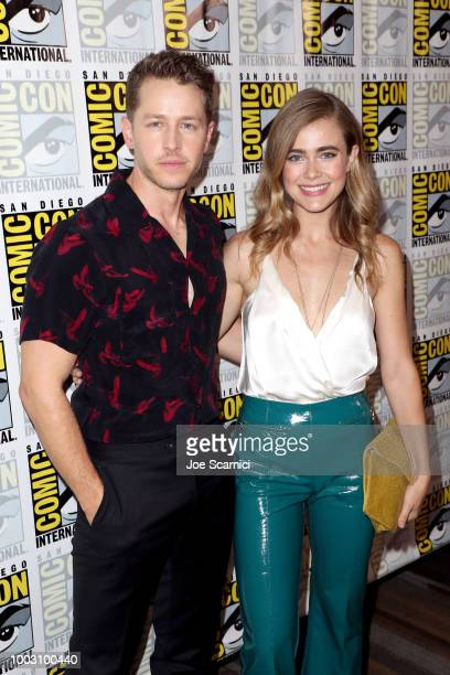 Josh Dallas and Melissa Roxburgh attend the 'Manifest' Press Line during ComicCon International 2018 at Hilton Bayfront on July 21 2018 in San Diego...