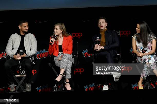 Josh Dallas Athena Karkanis Jack Messina and Luna Blaise onstage during the Warner Bros Television Block featuring Manifest during New York Comic Con...