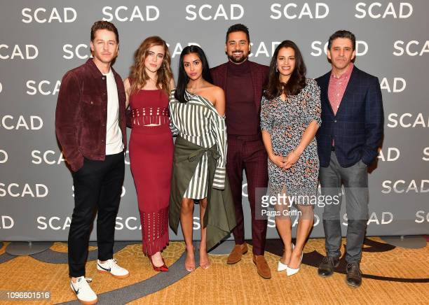 Josh Dallas Melissa Roxburgh Parveen Kaur JR Ramirez Athena Karkanis and Jeff Rake attend the Manifest press junket during SCAD aTVfest 2019 at Four...