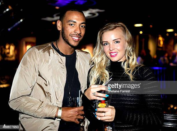 Josh Daniels and Leonna Mayor attend the 15th birtday party of Hard Rock Cafe on September 17 2015 in Manchester England
