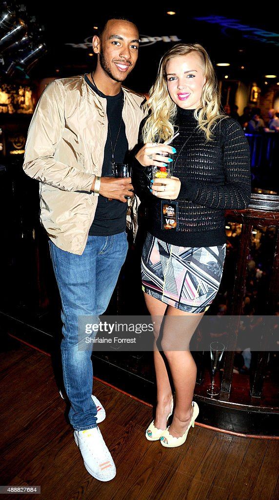 Josh Daniels and Leonna Mayor attend the 15th birtday party of Hard Rock Cafe on September 17, 2015 in Manchester, England.