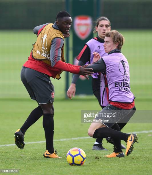 Josh Dasilva and Ben Sheaf of Arsenal during a training session at London Colney on November 1 2017 in St Albans England