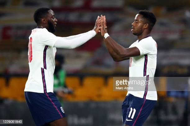 Josh Dasilva and Ryan Sessegnon and of England celebrate the opening goal during the UEFA Euro Under 21 Qualifier match between England U21 and...