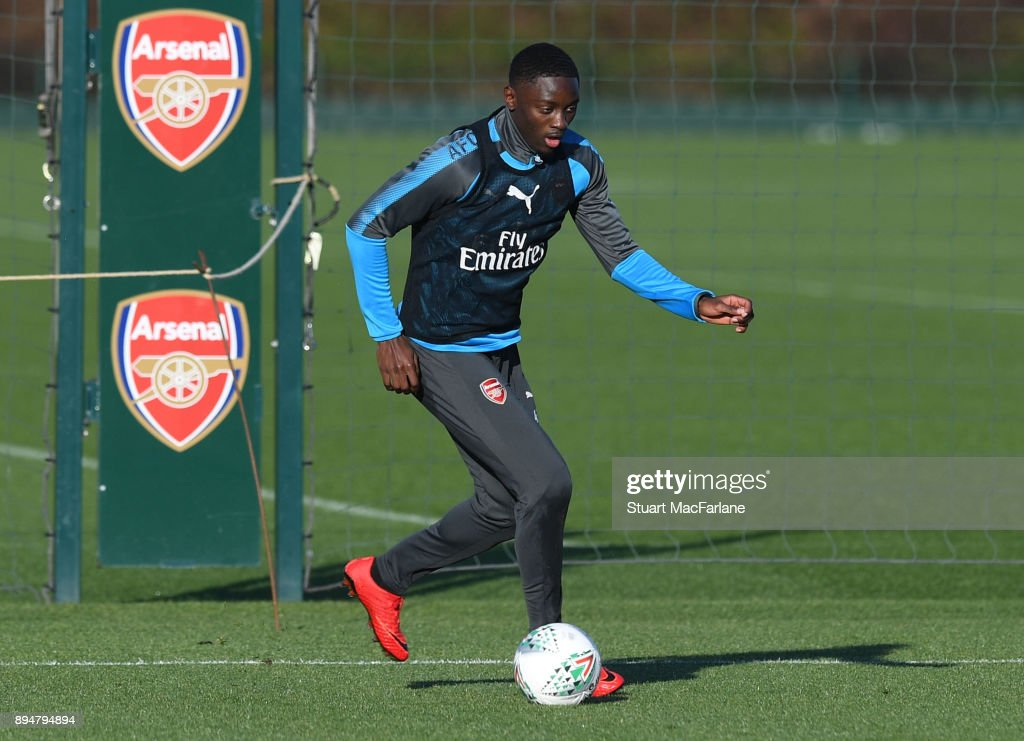Josh Dasilva of Arsenal during a training session at London Colney on December 18, 2017 in St Albans, England.