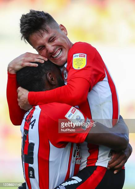 Josh Dasilva of Brentford celebrating his teams first goal during the Sky Bet Championship match between Brentford and Huddersfield Town at Griffin...