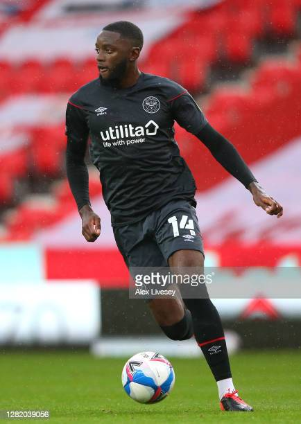 Josh Dasilva of Brentford during the Sky Bet Championship match between Stoke City and Brentford at Bet365 Stadium on October 24 2020 in Stoke on...