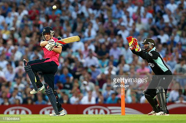 Josh Davey of Middlesex plays a pull shot during the Friends Life T20 match between Surrey Lions and Middlesex Panthers at The Kia Oval on July 5...