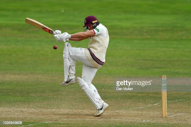 Josh Davey of Somerset bats during day two of the Specsavers County Championship Division One match between Somerset and Surrey at The Cooper...