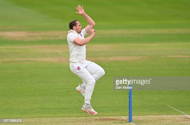 Josh Davey of Somerset bowls during day four of the LV= Insurance County Championship match between Hampshire and Somerset at Ageas Bowl on May 09,...