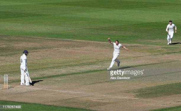 Josh Davey of Somerset celebrates the wicket of Tom Alsop of Hampshire during Day Two of The Specsavers Division One County Championship match...