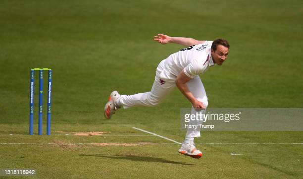 Josh Davey of Somerset in bowling action during Day Three of the LV= Insurance County Championship match between Somerset and Surrey at The Cooper...