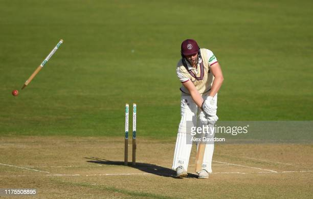 Josh Davey of Somerset is bowled by Kyle Abbott of Hampshire as Somerset are defeated during Day Three of The Specsavers Division One County...
