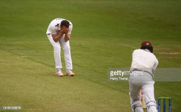 Josh Davey of Somerset reacts after beating the edge of Jamie Smith of Surrey during Day Three of the LV= Insurance County Championship match between...