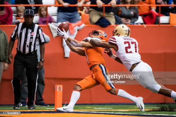 Josh DeBerry of the Boston College Eagles breaks up a pass in the end zone intended for Sean Riley of the Syracuse Orange during the second quarter...