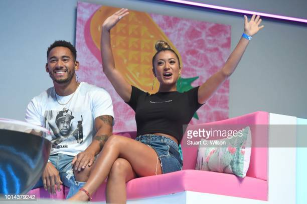 Josh Denzel and Kaz Crossley during the 'Love Island Live' photocall at ICC Auditorium on August 10 2018 in London England
