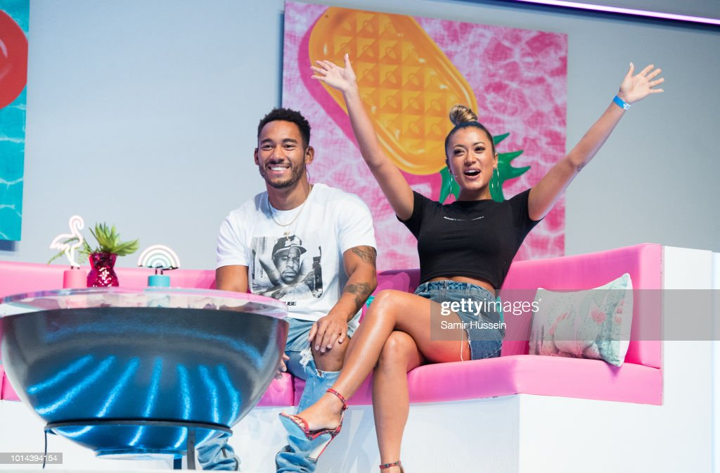 Josh Denzel and Kaz Crossley during the 'Love Island Live' photocall at ICC Auditorium on August 10, 2018 in London, England.
