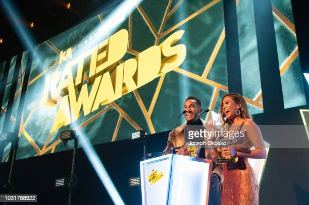 Josh Denzel and Kaz Crossley present Radio DJ of the Year award to Charlie Sloth at UK Grime and Hip Hop event the KA GRM Daily RATED AWARDS 2018 at...