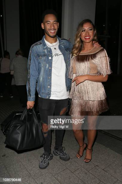 Josh Denzel and Kaz Crossley seen attending boohooMAN VIP dinner at The Shard on September 18 2018 in London England