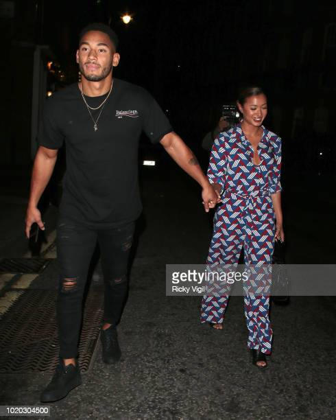 Josh Denzel and Kaz Crossley seen on a night out at El Pirata Of Mayfair tapas restaurant on August 20 2018 in London England
