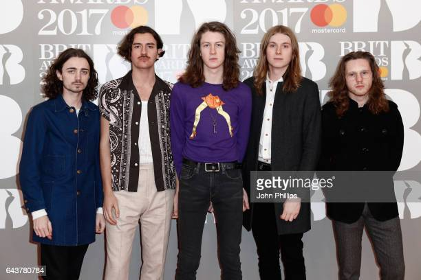 Josh Dewhurst Charlie Salt Tom Ogden Myles Kenlock and Joe Donovan of Blossoms attend The BRIT Awards 2017 at The O2 Arena on February 22 2017 in...