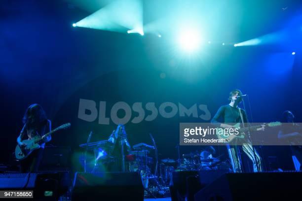Josh Dewhurst Myles Kellock Joe Donovan Tom Ogden and Charlie Salt of Blossoms perform live on stage during a concert as support for Noel Gallagher's...