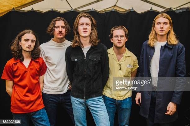 Josh Dewhurst Myles Kellock Tom Ogden Joe Donovan Charlie Salt of Blossoms pose backstage during day 1 at Leeds Festival at Bramhall Park on August...