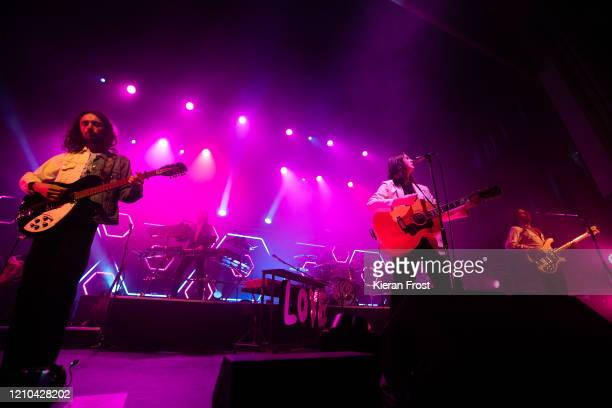 Josh Dewhurst, Tom Ogden and Charlie Salt of Blossoms perform at Olympia Theatre on March 04, 2020 in Dublin, Ireland.