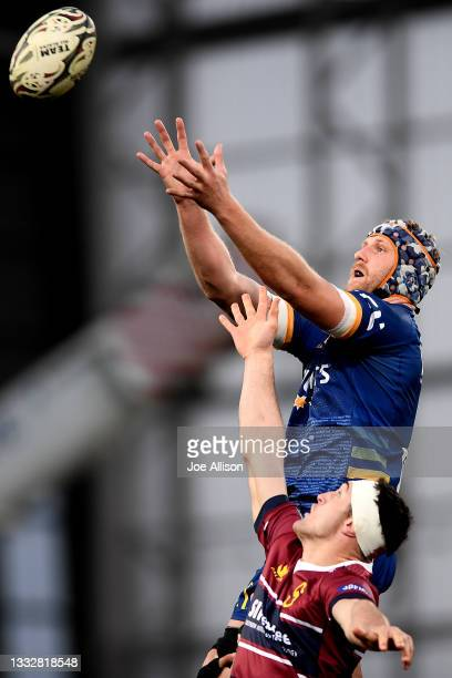 Josh Dickson of Otago looks to secure the ball from a lineout during the round one Bunnings NPC match between Otago and Southland at Forsyth Barr...