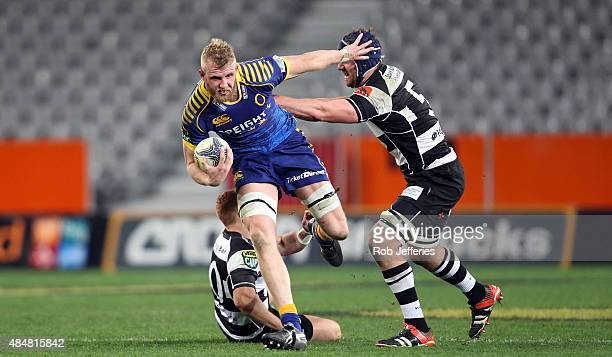 Josh Dickson of Otago on the charge during the round two ITM Cup match between Otago and Hawkes Bay at Forsyth Barr Stadium on August 22, 2015 in...