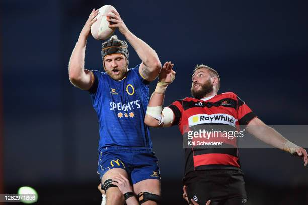 Josh Dickson of Otago wins a lineout during the round 8 Mitre 10 Cup match between Canterbury and Otago at Orangetheory Stadium on October 30, 2020...