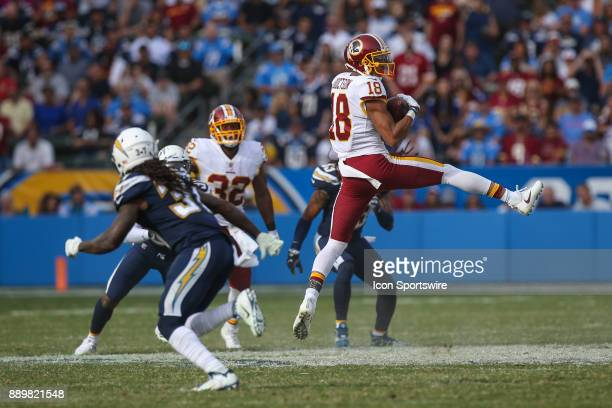 Josh Doctson of the Washington Redskins catches the ball during a NFL game between the Washington Redskins and the Los Angeles Chargers on December...