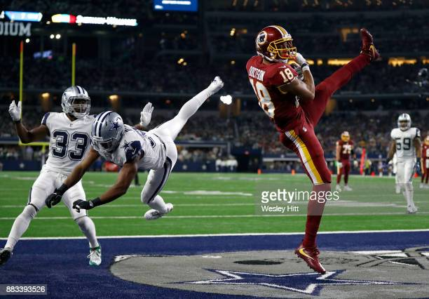 Josh Doctson of the Washington Redskins pulls down a touchdown in the end zone against Byron Jones of the Dallas Cowboys in the fourth quarter of a...