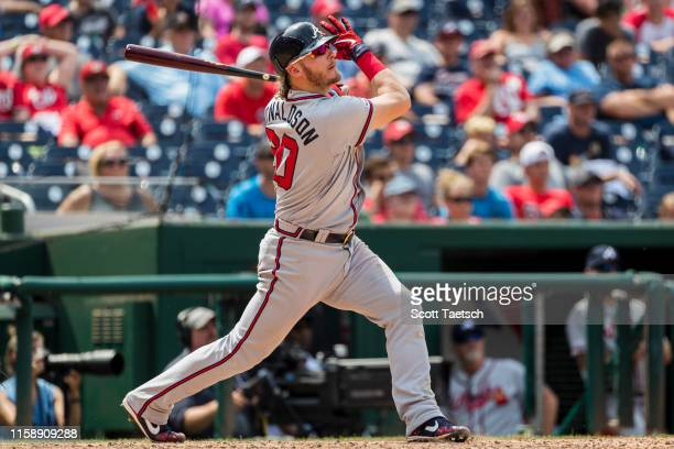 Josh Donaldson of the Atlanta Braves hits the game winning home run against the Washington Nationals during the tenth inning at Nationals Park on...