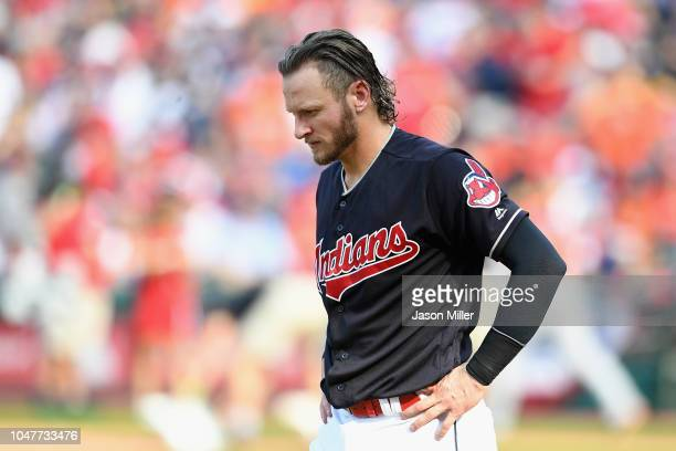 Josh Donaldson of the Cleveland Indians reacts after striking out in the sixth inning against the Houston Astros during Game Three of the American...