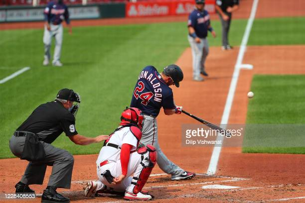Josh Donaldson of the Minnesota Twins hits a three-run home run against the St. Louis Cardinals in the third inning during game one of a doubleheader...